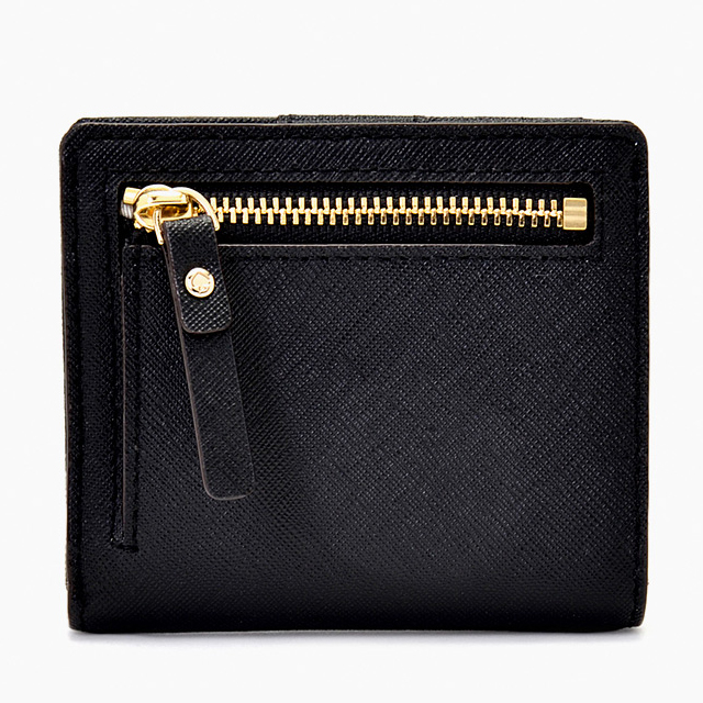 Kate spade kate spade NEW YORK two fold wallet saffiano PWRU3906 001 Black  Black ladies zip button wallet genuine brand new leather brand women