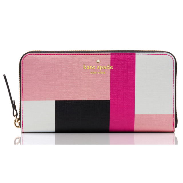 Kate Spade New York Long Wallet Round Pink White Black Las Brand Leather Purse Fashion Emma Lane Fabric Lacey Multi Color