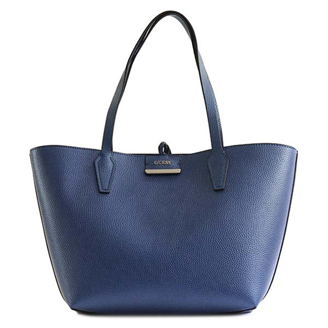 ゲス Guess Bobbi Reversible Tote Bag In Shoulder Blue Cognac Vg642236