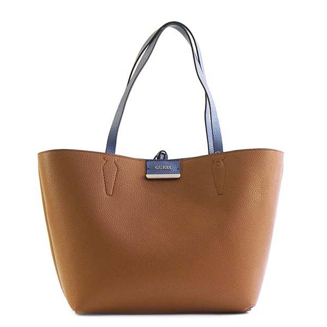 241b09f5bfe5 ゲス GUESS BOBBI reversible tote bag bag in bag shoulder bag BLUE COGNAC blue    cognac VG642236