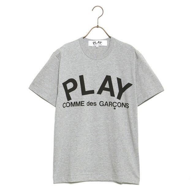 コムデギャルソン COMME des GARCONS Tシャツ メンズ PLAY TEXT LOGO TEE プレイテキストロゴ 半袖 AZ T080 051 GREY×BLACK グレー×ブラックロゴ