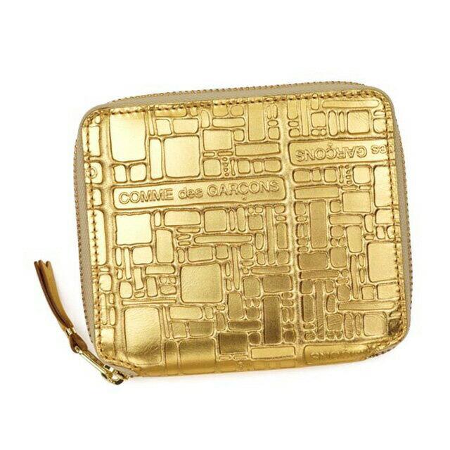 コムデギャルソン COMME des GARCONS 二つ折り財布 ゴールド 金 ラウンド 財布 レディース メンズ 兼用 ブランド 本皮 革 ギャルソン レザー ウォレット さいふ 新作 新品 正規 EMBOSSES LOGO