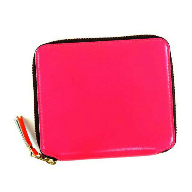 コムデギャルソン COMME des GARCONS 財布 SA2100SF SUPER FLUO スーパーフルー ラウンドファスナー二つ折り財布 PINK 蛍光ピンク