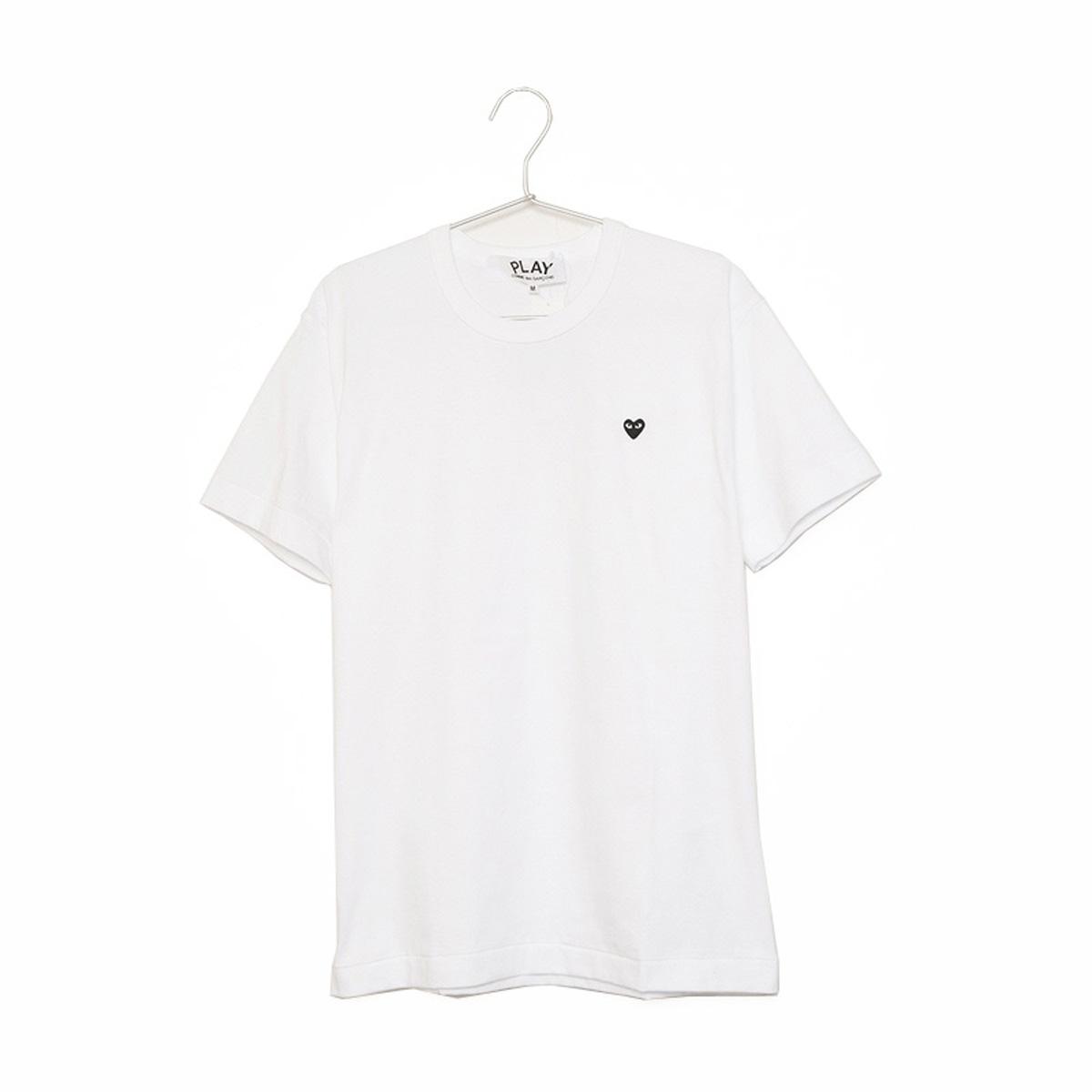 コムデギャルソン Tシャツ メンズ 半袖 PLAY LOGO BLACK HEART S/S TEE プレイ ロゴ ブラック ハート AZ-T202-051 ホワイト+ブラック