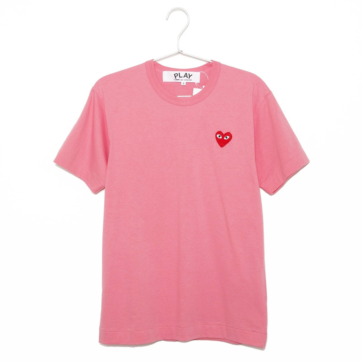 コムデギャルソン Tシャツ メンズ 半袖 PLAY RED HEART S/S TEE プレイ レッドハート AZ-T272-051 PINK 3 ピンク+レッドハート