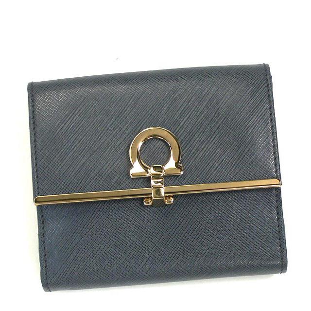 フェラガモ Salvatore Ferragamo 財布 二つ折り財布 グレー GANCINI ICONA VITTEL 224639 0520854 レディース新品