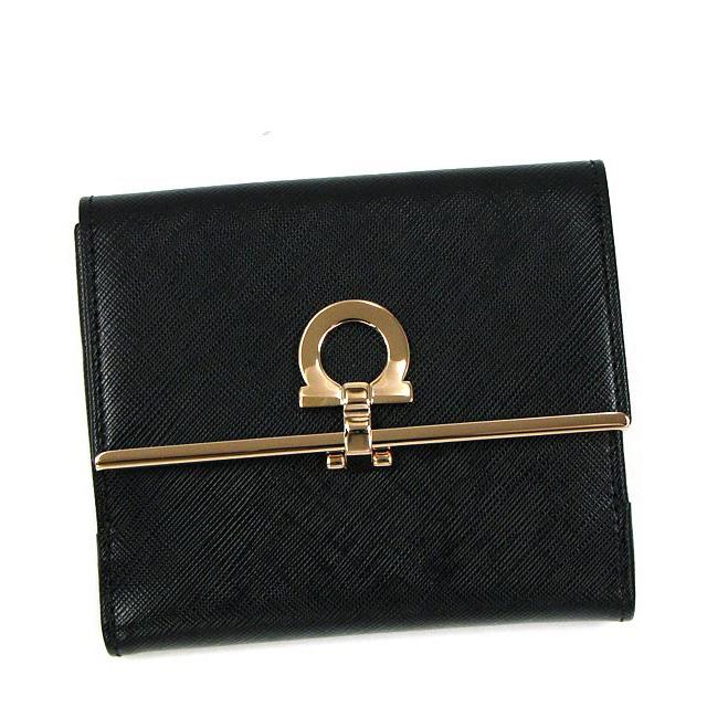 フェラガモ Salvatore Ferragamo 財布 二つ折り財布 ブラック イエロー GANCINI ICONA VITTEL 224639 0530941 レディース新品