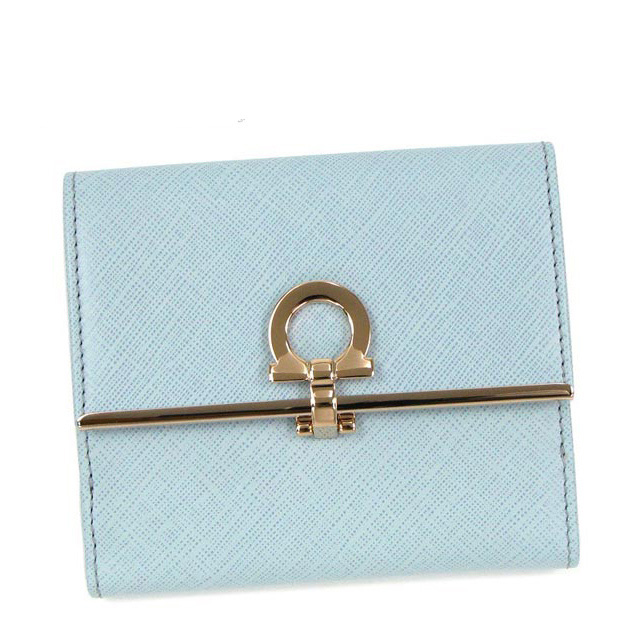フェラガモ Salvatore Ferragamo 財布 二つ折り財布 ライトブルー GANCINI ICONA VITTEL 224639 0537644 レディース新品