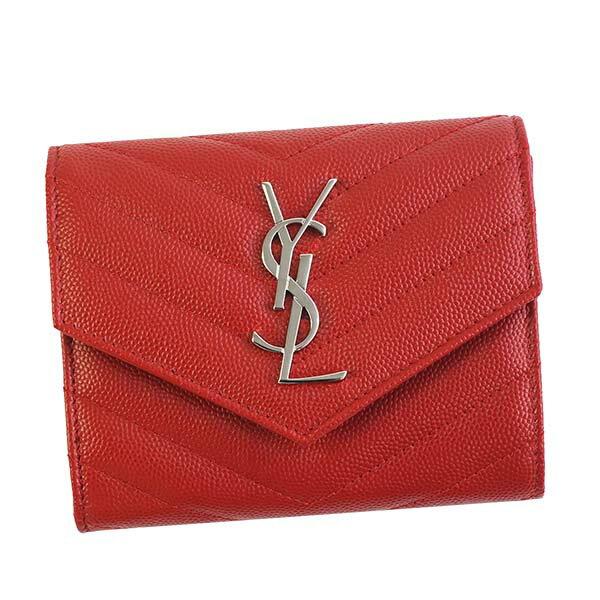 サンローラン SAINT LAURENT 403943 BOW02 6805 三つ折り財布 ROUGE EROS レッド 赤 折りたたみ財布 レディース 女性 プレゼント ギフト 新品