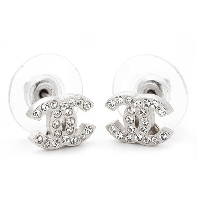 Chanel A26210 Cristal Coco Here Mark Cc Logo Crystal Stud Bolt Pierced Earrings New Article Work Silver Brand Lady S Regular