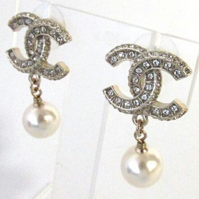 Chanel A86506 Y09902 Z2953 Coco Mark Pearl Earrings Gold Clear Plated Rhinestone Faux