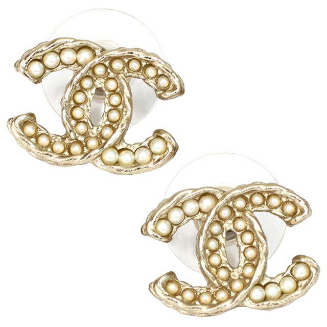 Chanel A86546 Dore Blanc Nacre Coco Make Cc Logo X Pearl Stud Earrings