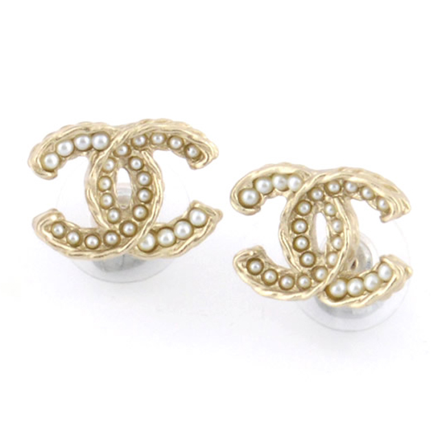 Chanel A86546 Dore Blanc Nacre Coco Make Cc Logo X Pearl Stud Earrings