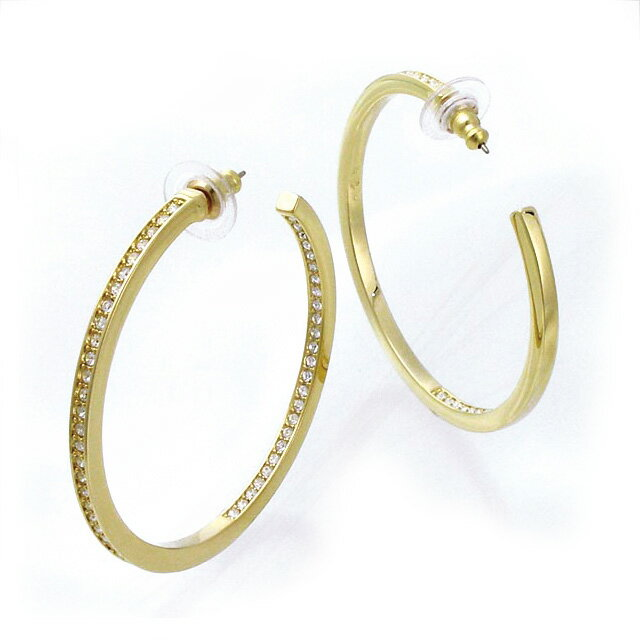 Swarovski Pierced Earrings Hoop Lady S Accessories New Work Brand Article Pority Crystal Gold Fs3gm