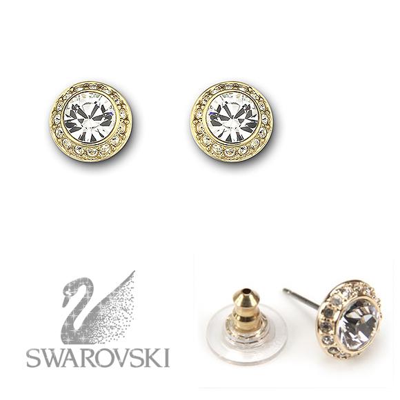 Swarovski Pierced Earrings Angelic Gold Crystal Lady S New Work