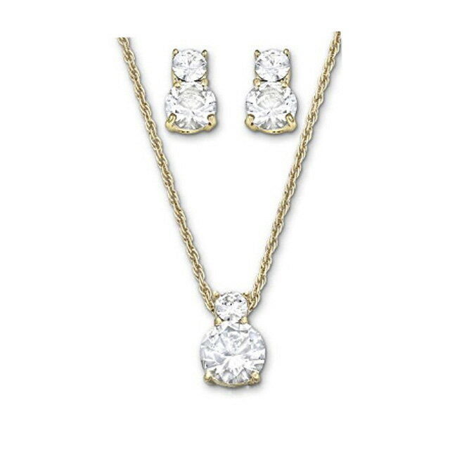 Two Point Set Swarovski Brilliance Necklace And Earrings Gold Coating