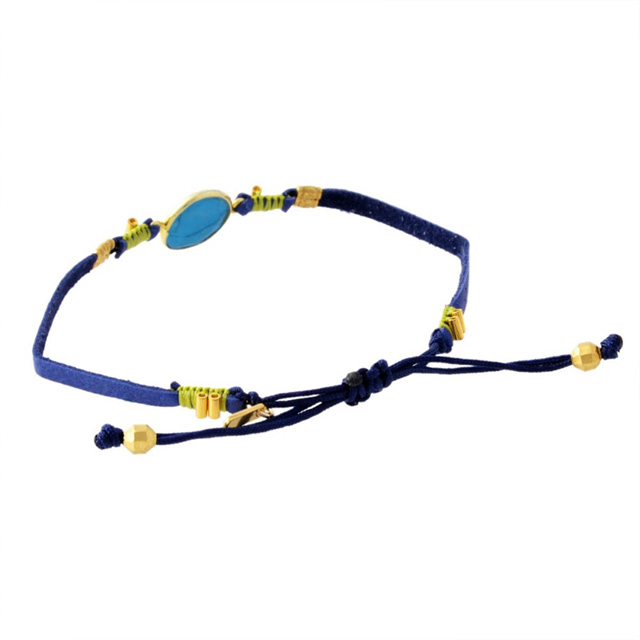 Pull Thailand leather bracelet blue mixture Christmas working under Chan roux CHAN LUU bracelet lap breath Lady's men nature stone leather brand single regular article present BG-5214 urquoise Pull-Tie Leather Bracele Stone