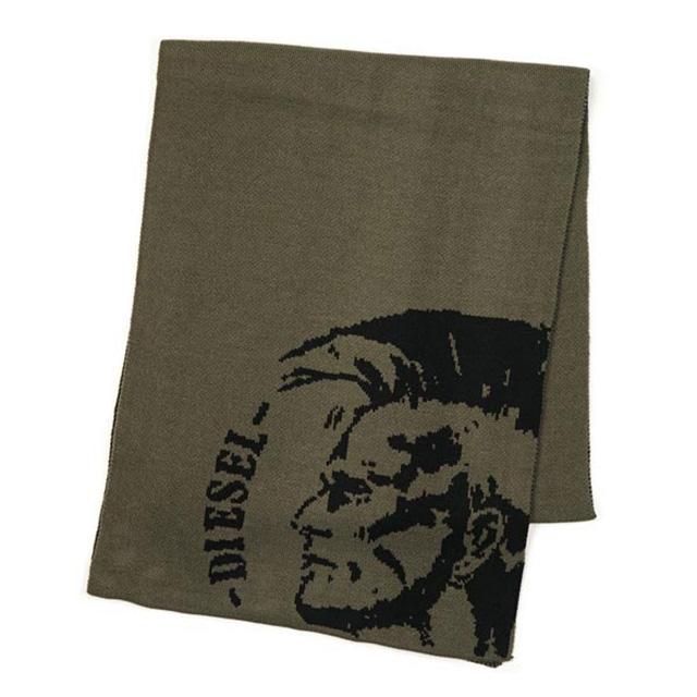 ディーゼル DIESEL マフラー メンズ ブランド 新作 カーキグリーン ブレイブマン刺繍 ミリタリーグリーン おしゃれ スカーフ 新品 K-DUBO