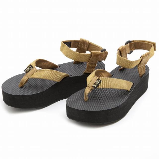 Teva TEVA FLATFORM SANDAL Teva Sandals tongs outdoor GOLD gold + black ladies women's ladies ' genuine brand new Festival Summer Festival thick bottom shoes shoes giveaway Teva snazzy GOLD 1008843