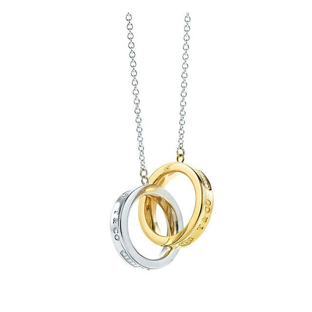 76baa12ddeb5 New TIFFANY   co. Tiffany s Necklace accessories brand women s 1837  interlocking circles pendant sterling silver 18 K Gold fs2gm