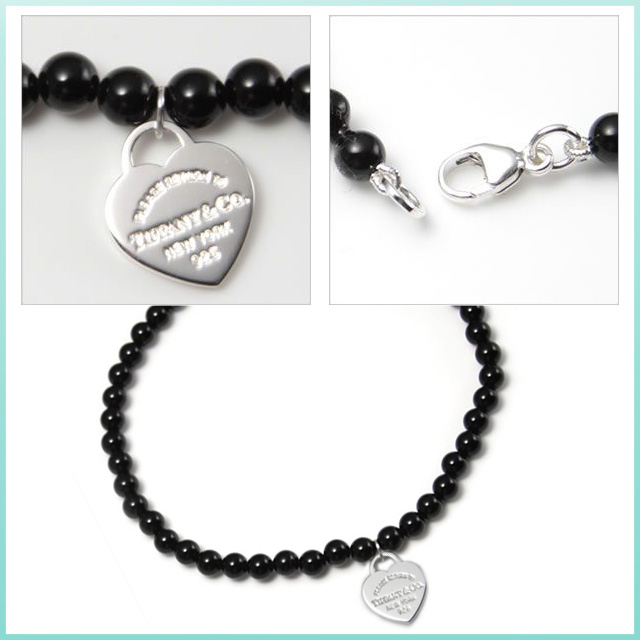 Tiffany Mini Heart Tag Beads Bracelet Return Toe Black Onyx Fs3gm
