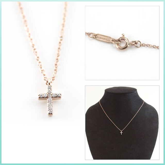 Tiffany tiffany metro cross pendant mini-diamond necklace K18 Rose gold X diamond