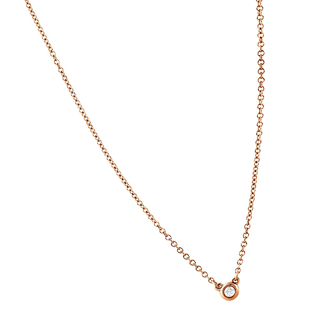 ティファニー tiffany ダイヤモンド バイ ザ ヤード ペンダント ローズ ゴールド ネックレス ダイヤモンド、K18 ローズゴールド