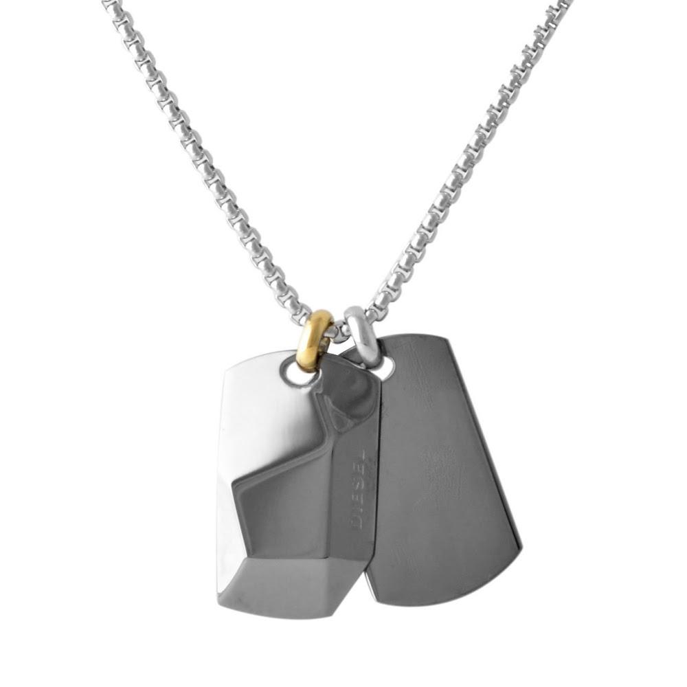 ディーゼル DIESEL メンズ ネックレス ペンダント DX1143040 ダブル ドッグタグ ガンメタル+シルバー系