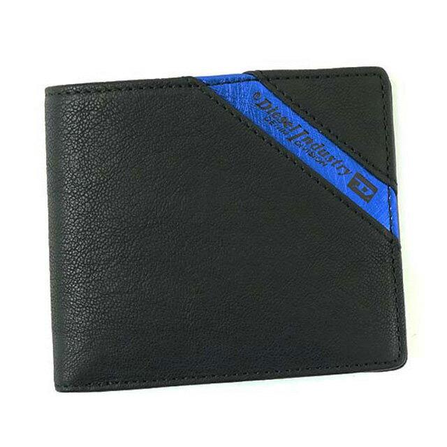 ディーゼル DIESEL 財布 X03611 P1221 H6169 HIRESH S 二つ折り財布 メンズ レザー BLACK/COBALTO ブラック+コバルトブルー