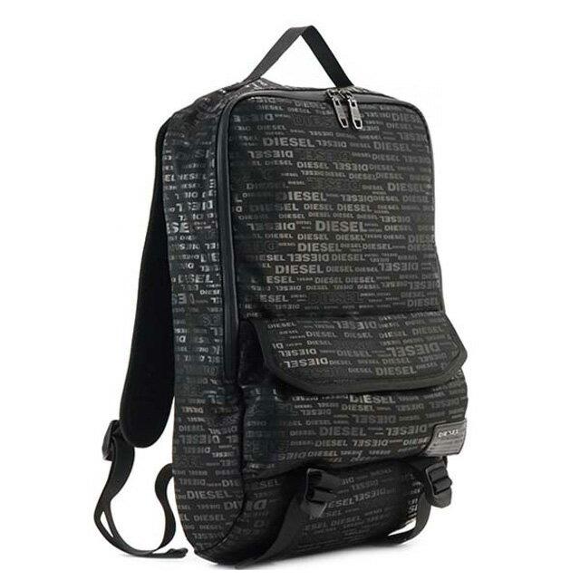 ディーゼル DIESEL リュック X04008 PR027 H5839 F-CLOSE BACK バックパック ALLOVER LOGO ブラックロゴ柄