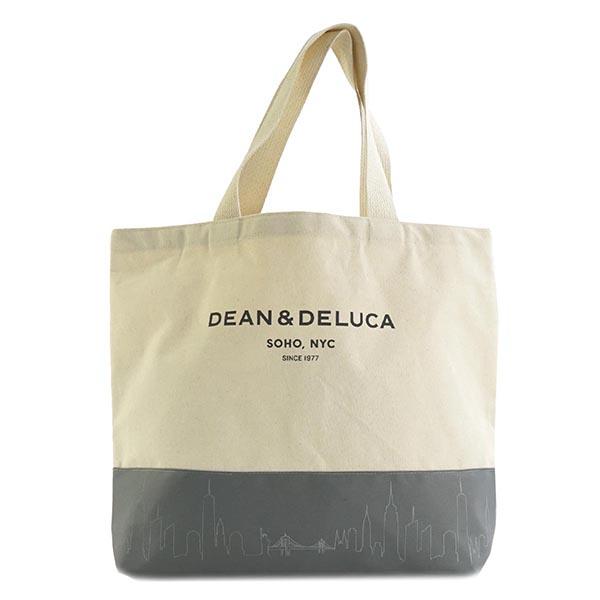 ディーンアンドデルーカ ディーン&デルーカ DEAN & DELUCA カラー ブロック キャンバス トートバッグ エコバッグ ショッピングバッグ ショルダーバッグ グレー+ナチュラル