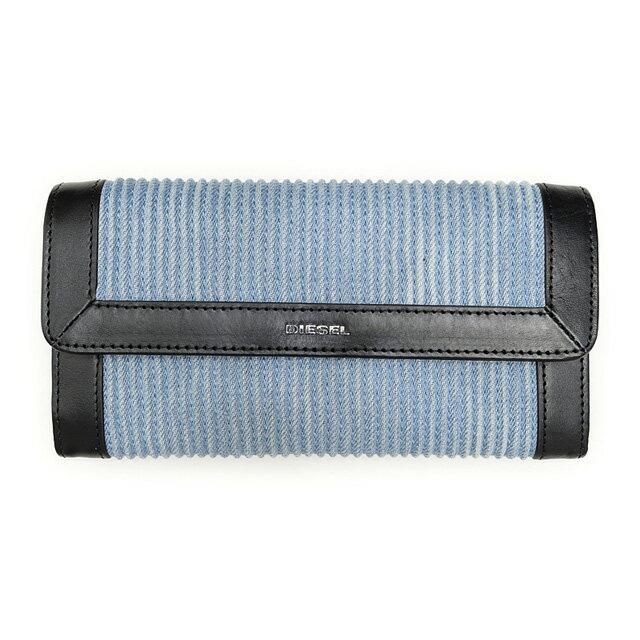 ディーゼル DIESEL X03531 PR570 H4807 フラップ長財布 LIGHT BLUE/BLACK ライトブルー+ブラック