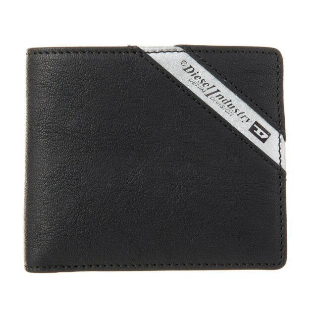 ディーゼル DIESEL 財布 X03611 P1221 H6168 小銭入れ付き 二つ折り財布 BLACK/DARK ACCIAIO ブラック+シルバー