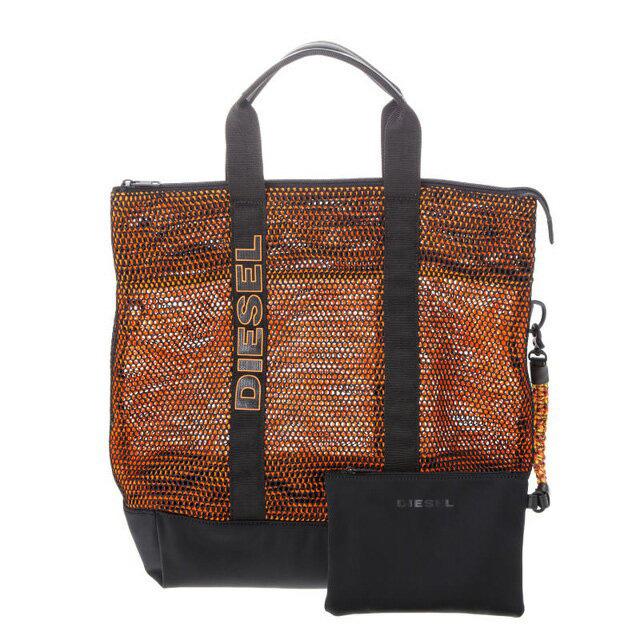 ディーゼル DIESEL バッグ X03784 P0882 H5971 ポーチ付き トートバッグ BLACK/ORANGE ブラック+オレンジ