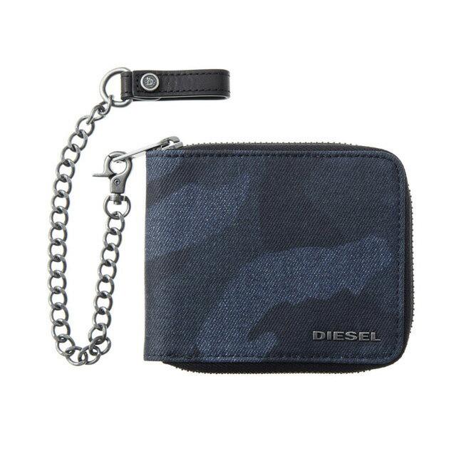 ディーゼル DIESEL 財布 X04113 P1071 H6079 チェーン付 ラウンドファスナー二つ折り財布 ブルー系カモフラ柄