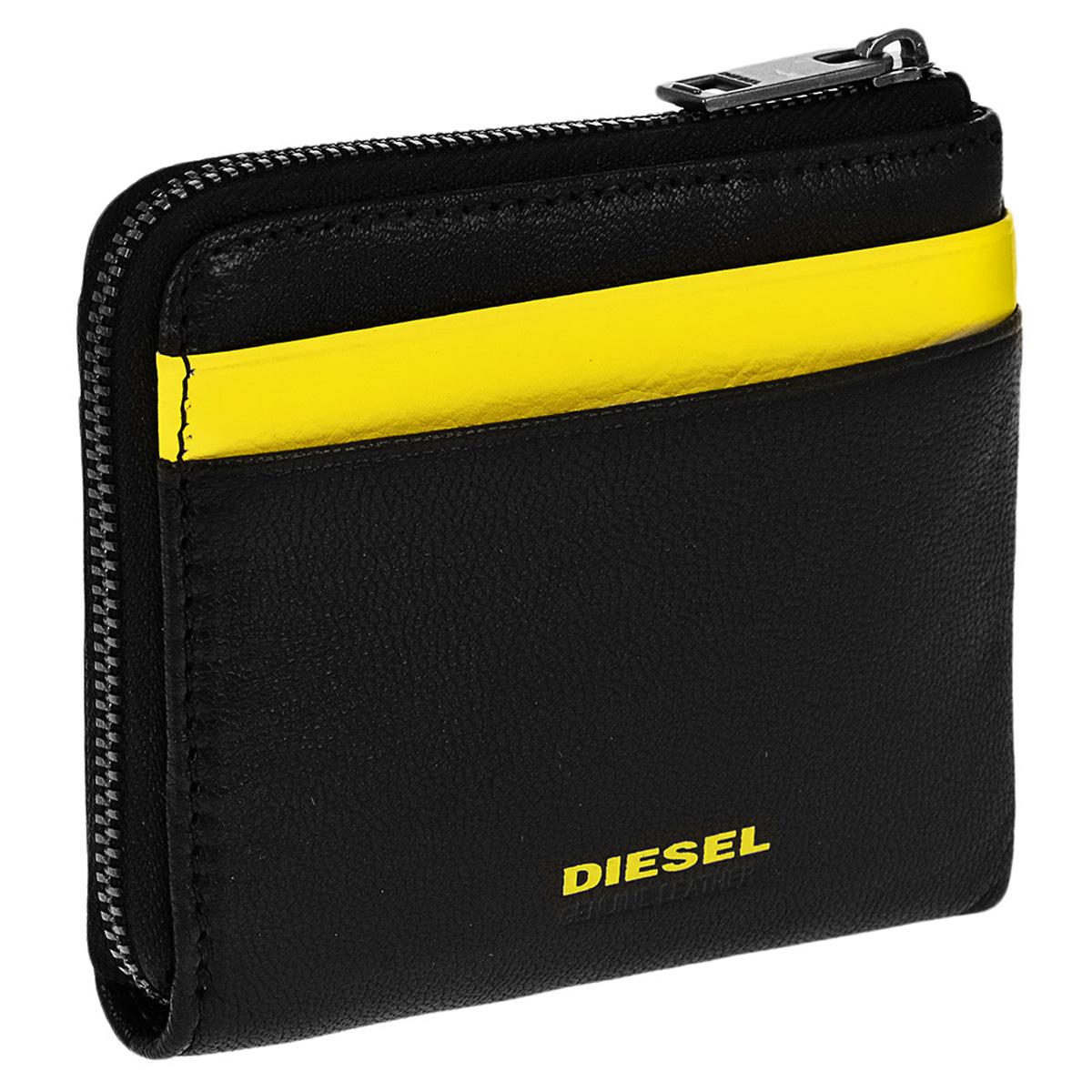 ディーゼル DIESEL 財布 X04768 PR227 H3350 PASS-MEE カードケース コインケース パスケース マルチケース BLACK/YELLOW ブラック+イエロー