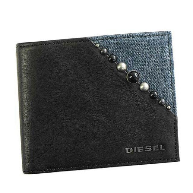 ディーゼル DIESEL X05255 P1559 H3820 KEEPLER HIRESH S 小銭入れ付き 二つ折り財布 BLACK/BLUE DENIM ブラック+ブルー系デニム