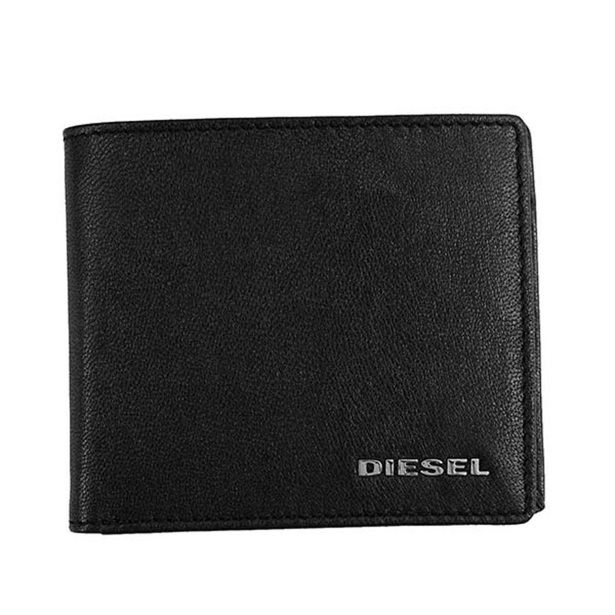 ディーゼル DIESEL 財布 X05601 P1752 H6818 HIRESH S 小銭入れ付き 二つ折り財布 BLACK/PUREED PUMPKIN ブラック+オレンジ系