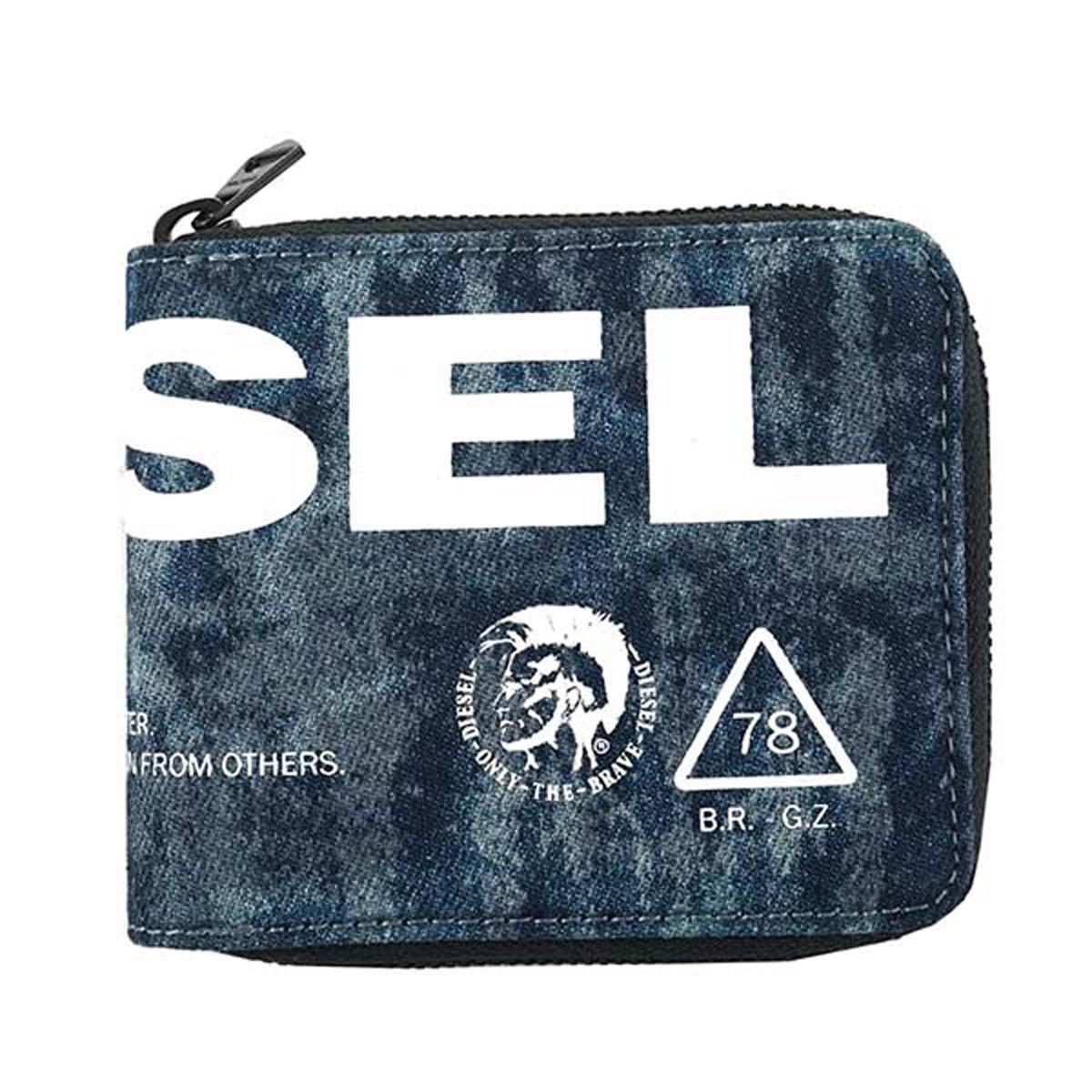 ディーゼル DIESEL 財布 X06004 P2088 T6331 ZIPPY HIRESH S 小銭入れ付き ラウンドファスナー 二つ折り財布 BLUE/WHITE デニムブルー+ホワイト