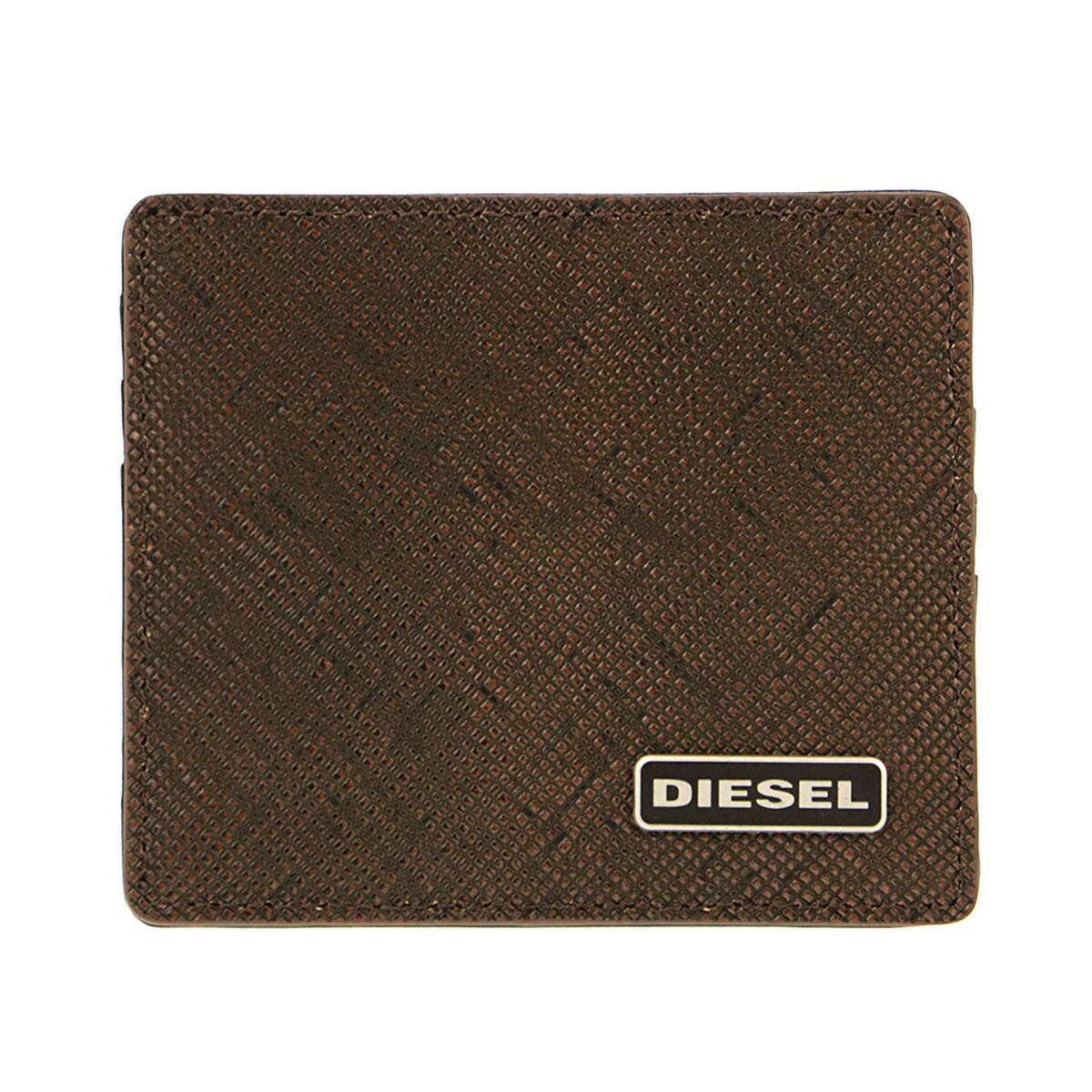 ディーゼル DIESEL カードケース X03345 P0517 H6028 スリム クレジットカードケース 名刺入れ ブラウン系+ブラック
