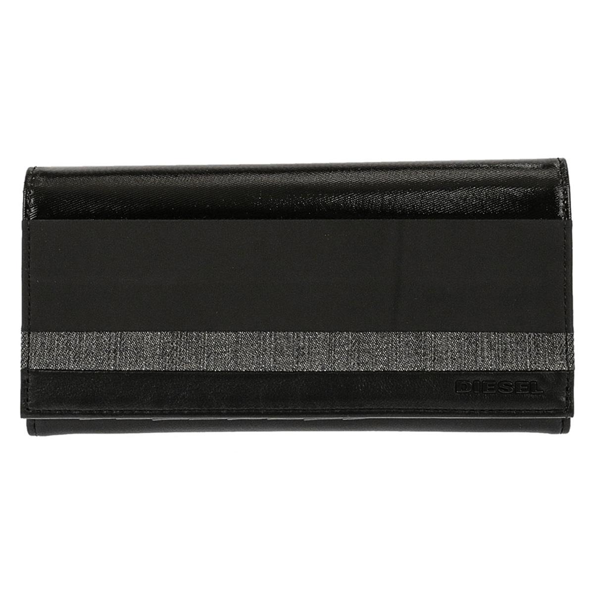 ディーゼル DIESEL 財布 X06001 P2067 H6027 24 A DAY 小銭入れ付き フラップ 長財布 BLACK ブラック