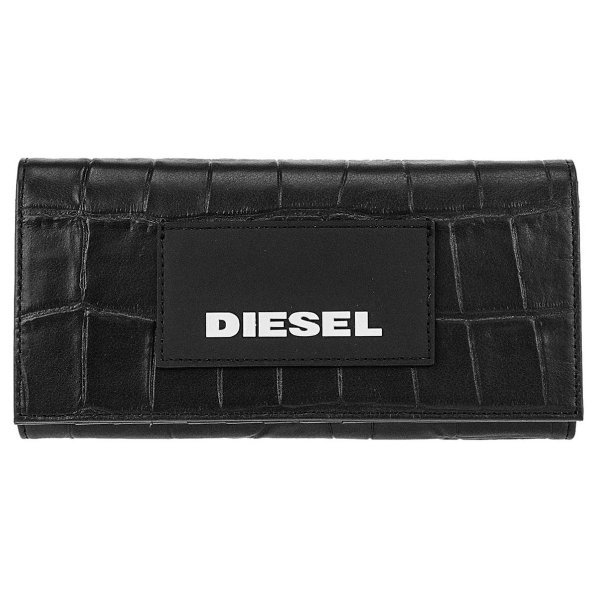 ディーゼル DIESEL 財布 X06304 P2551 T8013 小銭入れ付き フラップ 長財布 BLACK ブラック