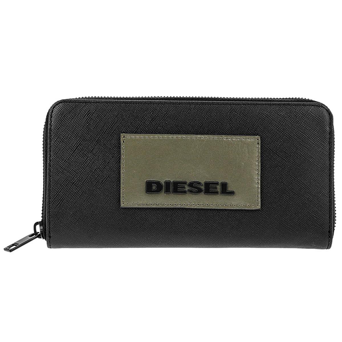 ディーゼル DIESEL 財布 X06307 P0517 T8013 24 ZIP 小銭入れ付き ラウンドファスナー 長財布 BLACK ブラック+カーキグリーン系