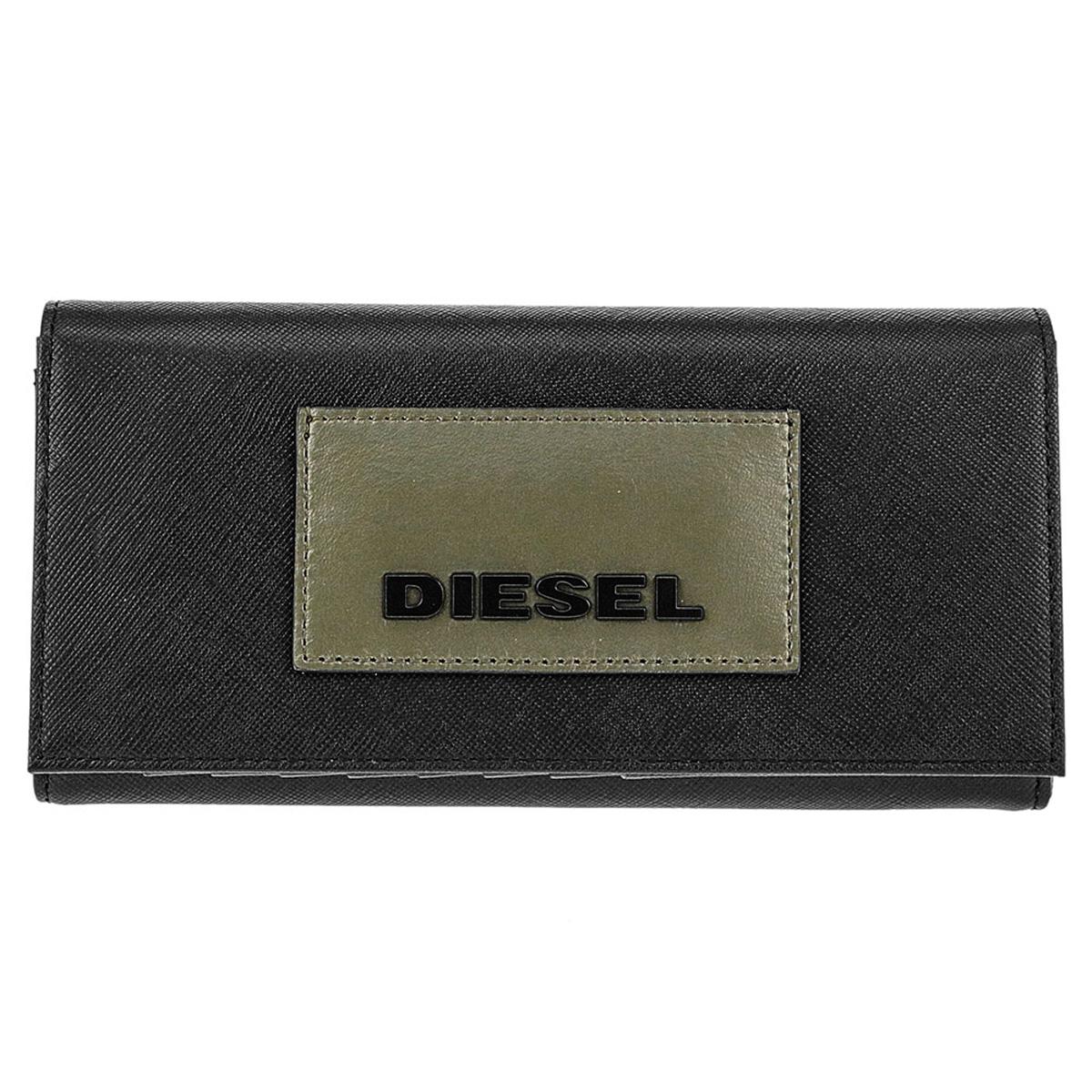 ディーゼル DIESEL 財布 X06308 P0517 T8013 24 A DAY 小銭入れ付き フラップ 長財布 BLACK ブラック+カーキグリーン系