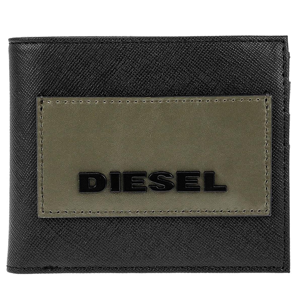 ディーゼル DIESEL 財布 X06309 P0517 T8013 HIRESH S 小銭入れ付き 二つ折り財布 BLACK ブラック+カーキグリーン系