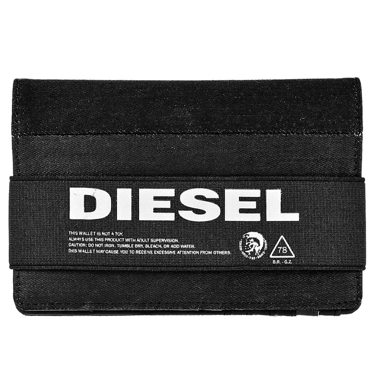 ディーゼル DIESEL 財布 X06483 PR402 T8013 ORGANIESEL 小銭入れなし 二つ折り財布 BLACK ブラックデニム+ブラック
