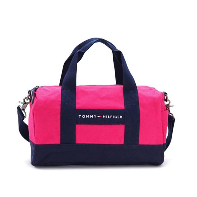 Tommy Hilfiger Boston Also Shoulder Bag 2 Way Handbag Pink Navy Mini Duffle Canvas Nylon School Las Women New Brand