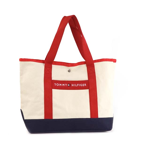 Tommy Hilfiger Tote Bag Shoulder Off White Red Canvas Per