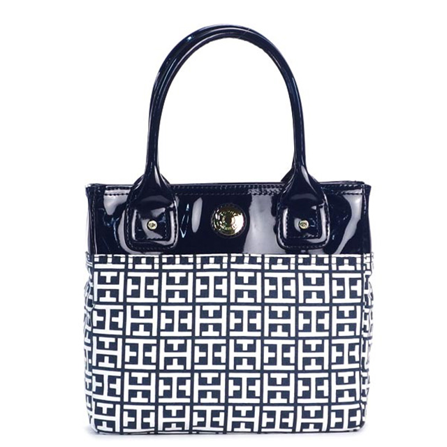 Tommy Tommy Hilfiger Tommy Hilfiger Handbags Navy Natural Ladies Brand Small Tote New Regular Brand New Canvas Bag Small Tote Th Logo Tote Bag