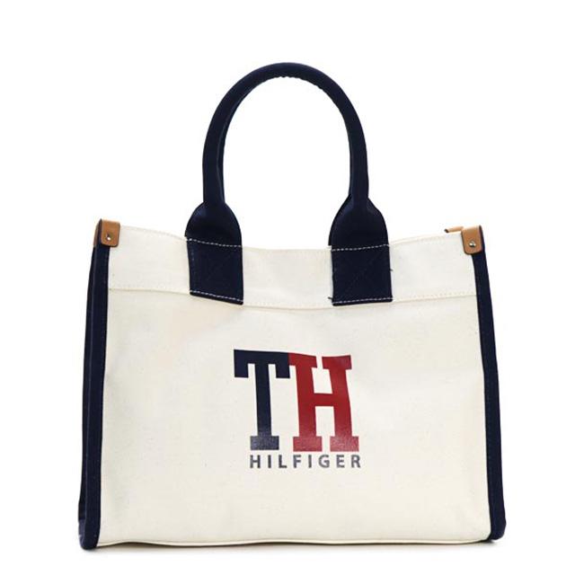 Tommy Hilfiger Tote Bag Medium That Handbags Natural Navy Red Canvas